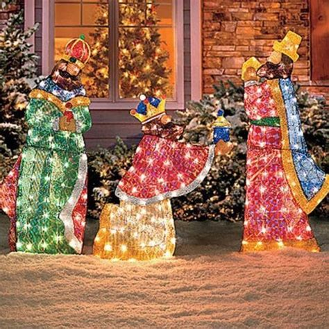 set of 6 lighted holy family wisemen shimmering nativity