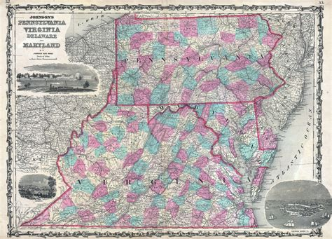 Civil Search York Pa File 1862 Johnson Map Of Virginia Maryland Delaware And Pennsylvania Geographicus