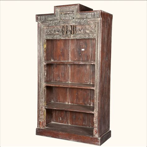 Display Bookcase Italian Reclaimed Wood 4 Shelf Open Display