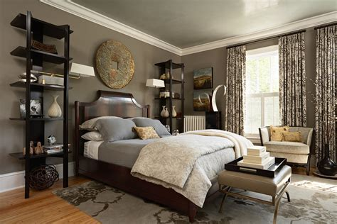 brown and silver bedroom decor cool corner curio in bedroom transitional with taupe walls