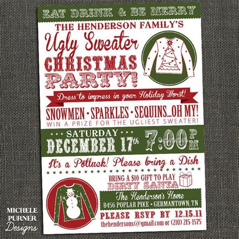 Ugly Christmas Sweater Party Flyer Invitation Templates Sweater Flyer Template Free