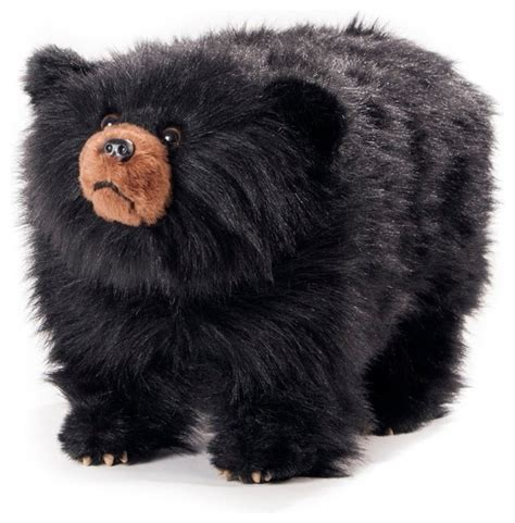 bear ottoman shadow shaggy black bear footstool southwestern