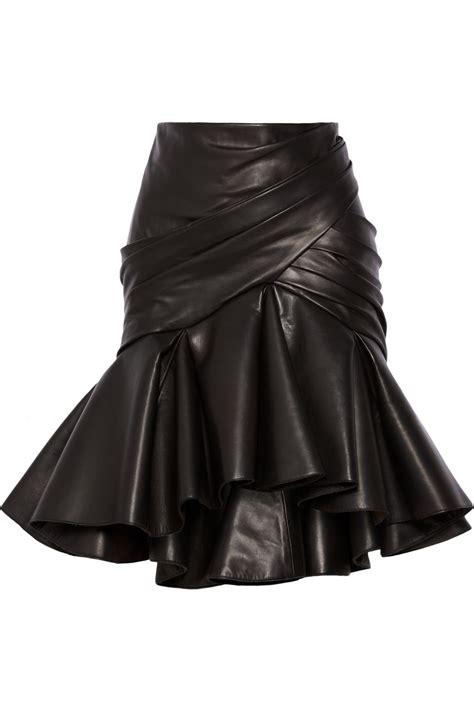 balmain wrap effect pleated leather skirt plus size
