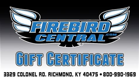 Firebirds Gift Card - firebird central gift certificate gift card