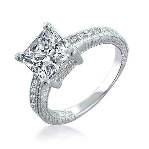 sterling silver 2 9ct princess cut cz engagement ring
