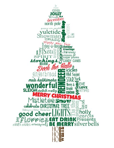 christmas tree merry christmas deck the halls word art