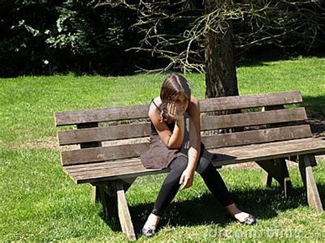 bench girl sad girl on bench stock photo image of child lonely