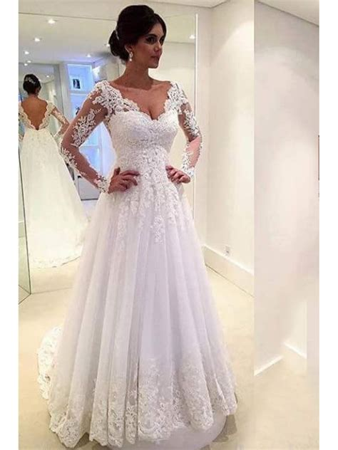 V Neck Sleeve A Line Dress a line sleeves lace v neck wedding dresses bridal