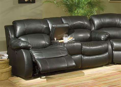 transitional leather sectional transitional black bonded leather sectional w recliner