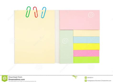 color note pad  paper clip isolated  stock
