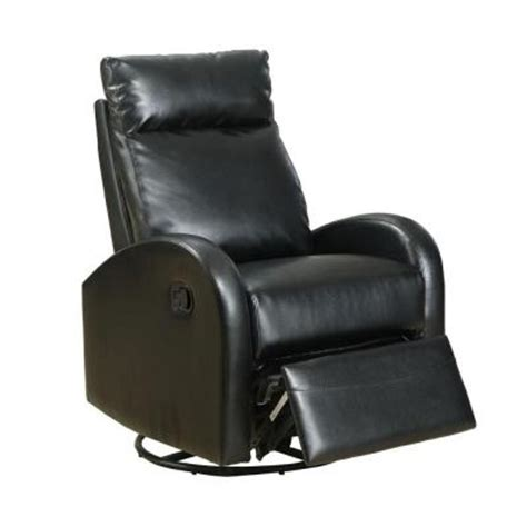 black leather rocker recliner monarch specialties bonded leather swivel rocker recliner