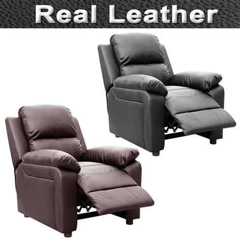 Real Leather Recliner Sofa Ultimo Real Leather Recliner Armchair Sofa Chair Reclining Home Lounge Ebay