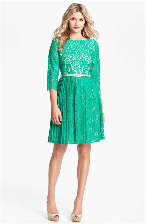 Green Flare Dress eliza j belted lace fit flare dress in green teal lyst
