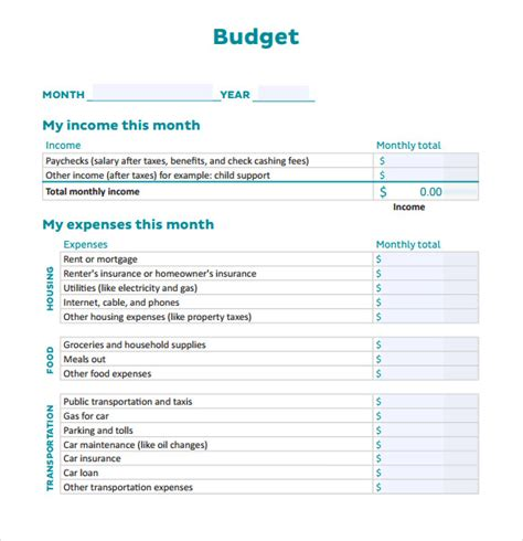 monthly personal budget template sle personal budget documents in pdf word excel