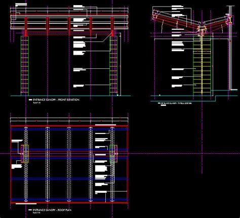 box auto dwg cad details steel canopy contemporary freestanding