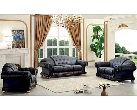 Black Living Room Set In Classic Style Versace Esfveset Black Living Room Sets