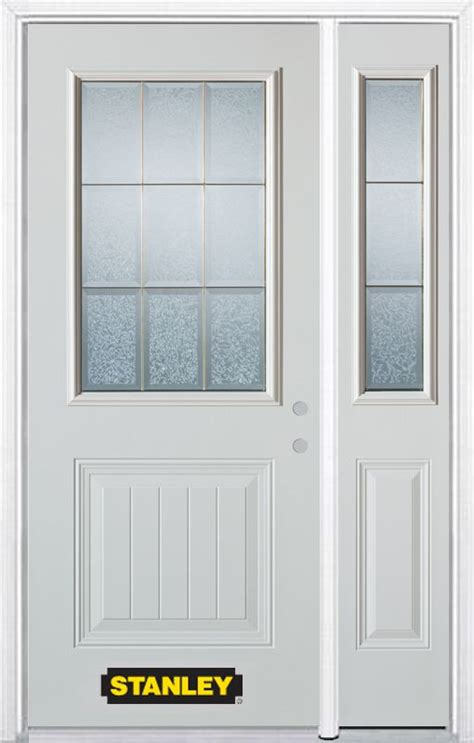 Exterior Steel Doors Home Depot Stanley Doors 52 In X 82 In 1 2 Lite 1 Panel Pre Finished White Steel Entry Door With Sidelite