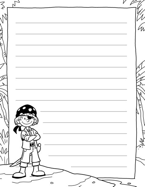 pirate writing paper 01 tim s printables