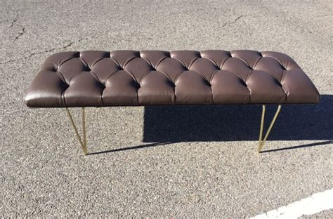 Custom Brass Leather Bench West Coast Modern La
