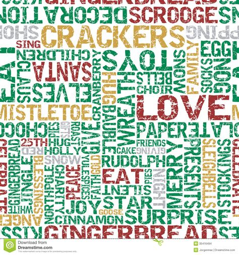 words that describe christmas typographical themed seamless tile stock vector image 35416494