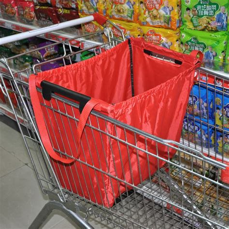 Gratis Ongkir Supermarket Trolley Organizer Bag Shopping Bag reusable grab bag shopping grocery bag insulated tote foldable supermarket large capacity holds