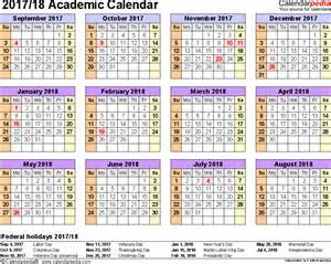 Academic Calendar Template Pdf Academic Calendars 2017 2018 As Free Printable Pdf Templates
