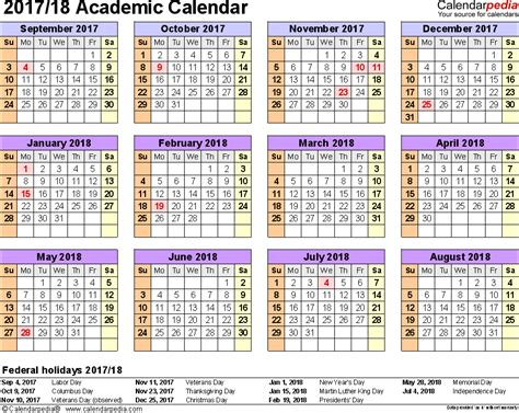 American Academic Calendar Academic Calendars 2017 2018 As Free Printable Word Templates