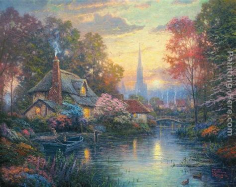 kinkade cottage painting kinkade nanette s cottage painting best paintings
