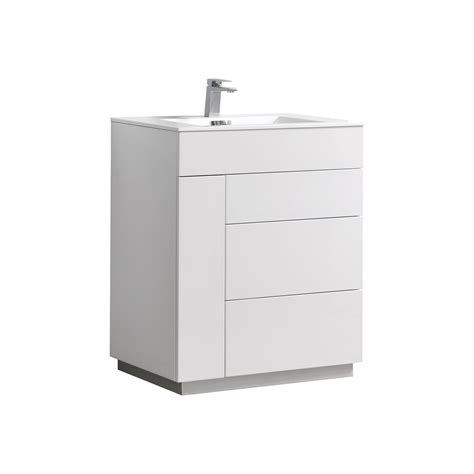 30 modern bathroom vanity milano 30 quot gloss white floor mount modern bathroom vanity
