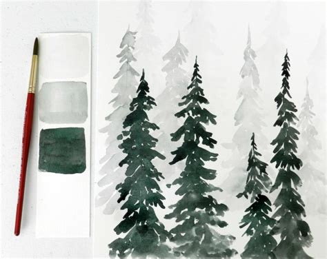 watercolor wood tutorial watercolor pine trees tutorial how to paint a wintery