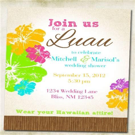 hawaiian wedding invitation templates bridal shower invitations free hawaiian themed bridal
