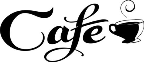 Large Wall Sticker cafe sign with coffee cup decal sticker wall kitchen