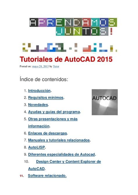 tutorial guide to autocad 2015 tutorial autocad2015