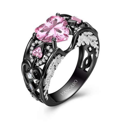 Black Ring by Wing Collection Black And Pink Engagement Ring For