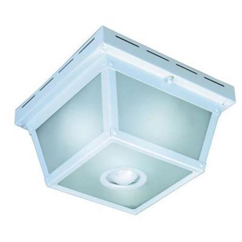 Outdoor Ceiling Light Motion Sensor Hton Bay 360 Degree Square 4 Light White Motion Sensing Outdoor Flush Mount Hb 4305 Wh The