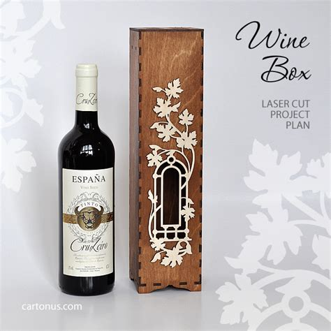 Wooden Wine Box With Window And Decorative Frame Laser Cut Vector Pattern Http Cartonus Com Laser Cut Wine Box Template