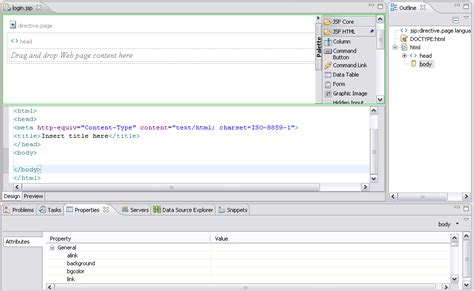 tutorial web editor bug 159616 visual jsf editor for only standard jsf