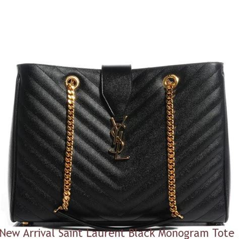 arrival saint laurent black monogram tote bag madison