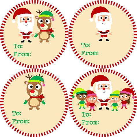 christmas gift tag stickers red and green striped santa