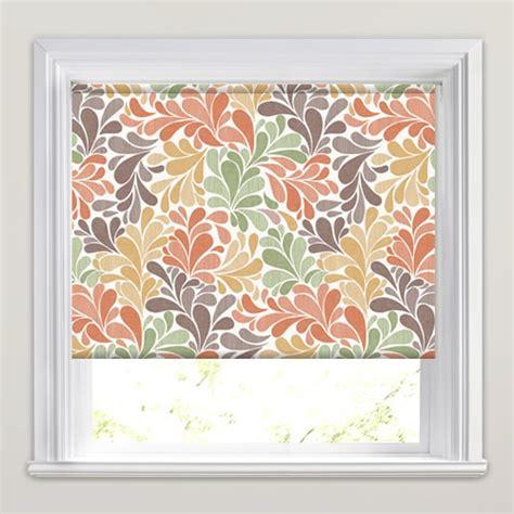orange patterned roller blind orange brown green autumnal leaves patterned roller blinds