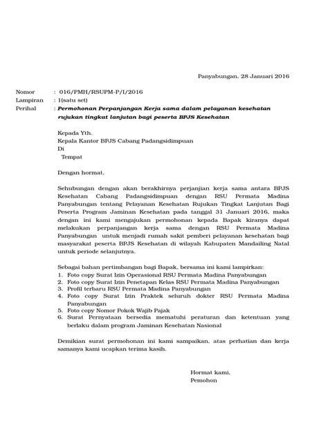Contoh Surat Permohonan Kerjasama Klinik Dengan Bpjs