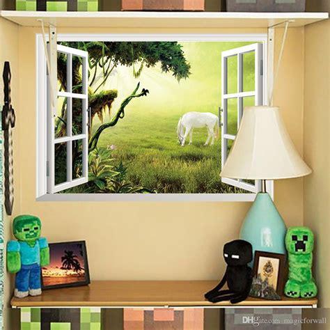Dekorasi Dinding 3d Wall Stiker Hias Motif Interior Rumah Murah 3d window wall mural sticker white on the grassland wall decoration paper poster sun