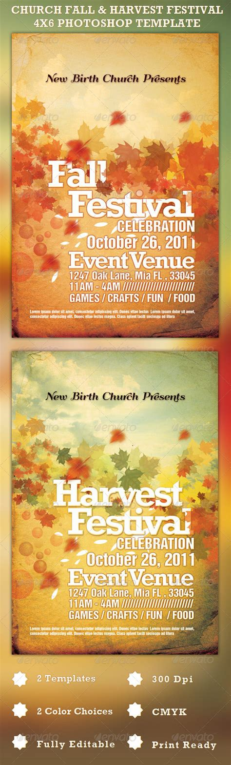 Church Fall And Harvest Festival Template On Behance Harvest Festival Flyer Free Template
