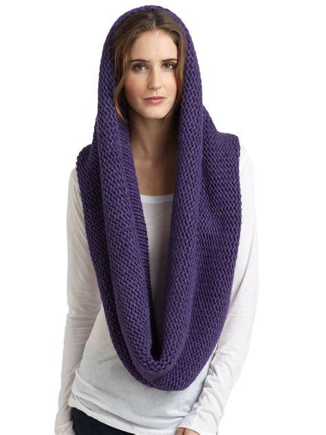 chunky knit infinity scarf portolano chunky knit infinity scarf in purple lyst