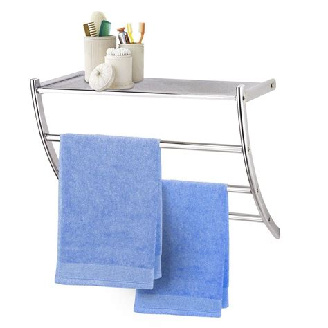 bathroom towel rack with shelf metal chrome wall mounted shelf shower bathroom towel rail
