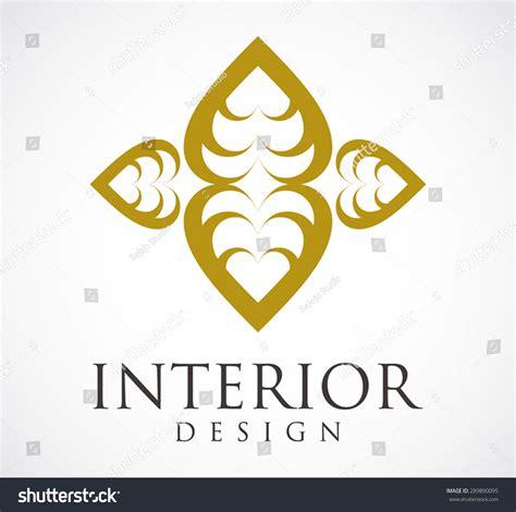 interior design logo gold element stock vector