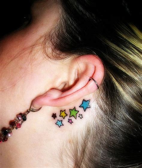 Star Tattoos Behind Ear Designs | 30 hottest star tattoo designs pretty designs