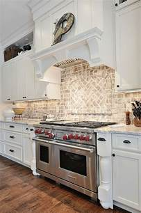brick tile kitchen backsplash country kitchen like the light brick back splash kitchen pinterest stove cabinets and