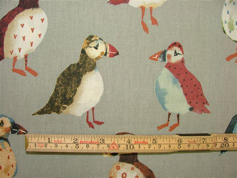 upholstery fabric nautical theme puffin birds pumice coastal nautical seaside theme