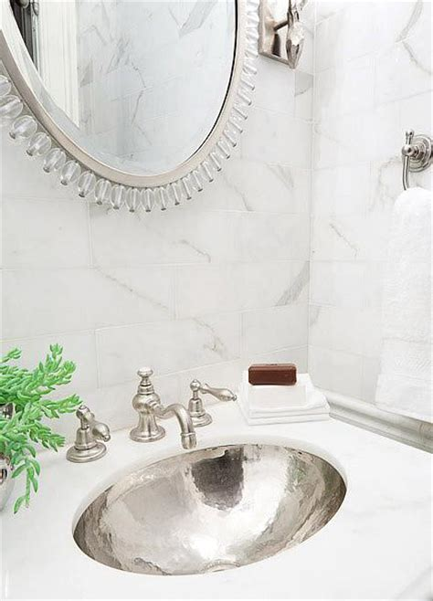 hammered silver sink transitional bathroom erik